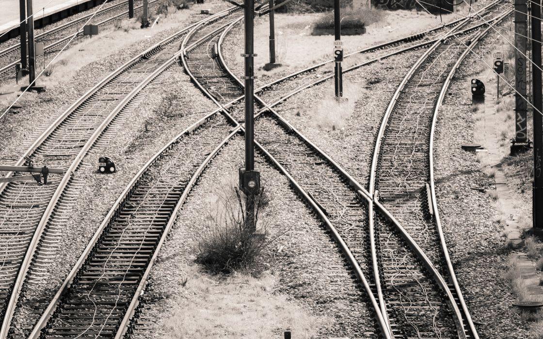 Railroad Rails BW wallpaper