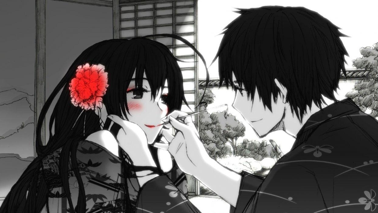 red flowers kimono blush monochrome anime anime boys selective coloring anime girls original wallpaper