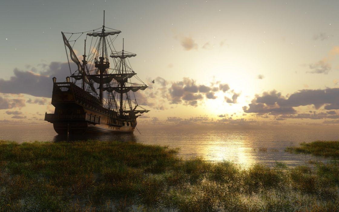 sailboat sunset sea bay wallpaper