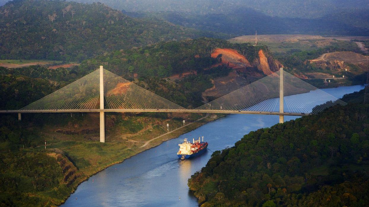 Ship Bridge Aerial River wallpaper