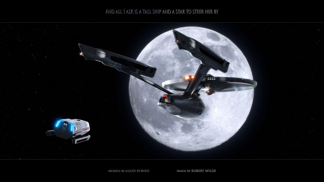 Star Trek Starship Enterprise Spaceship Moon Stars Shuttle wallpaper