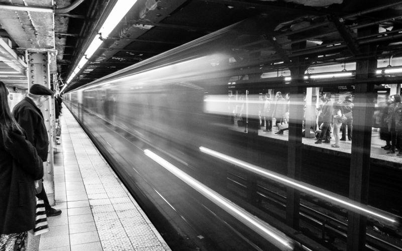 Subway Train BW Underground Motion Blur wallpaper