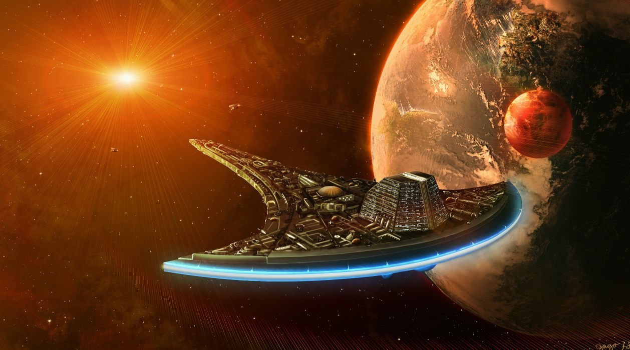 Technics Ships Planets Stars Fantasy Space wallpaper