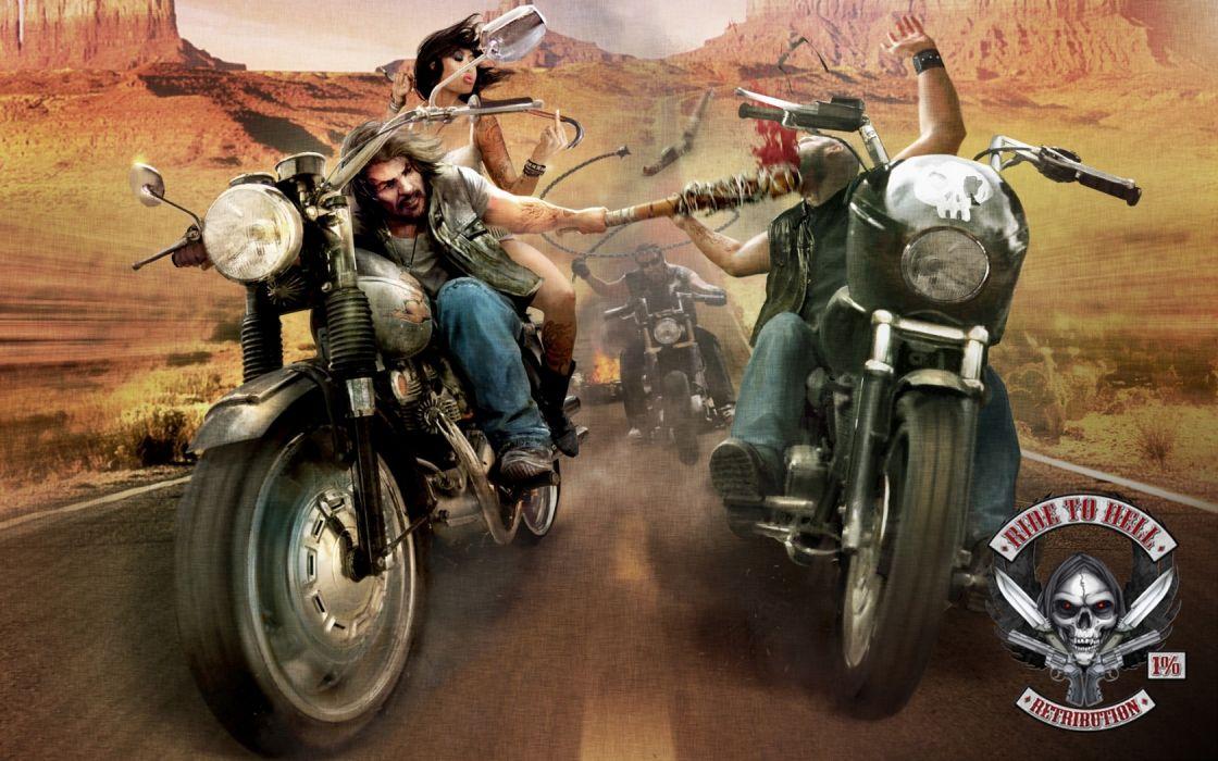 trip retribution bike motorcycle ride to hell biker gangster wallpaper