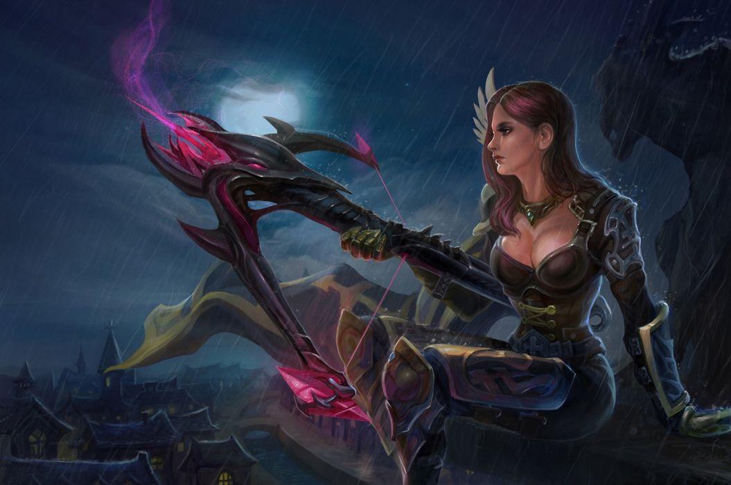 Warriors Archers Armor Night Fantasy Girls wallpaper
