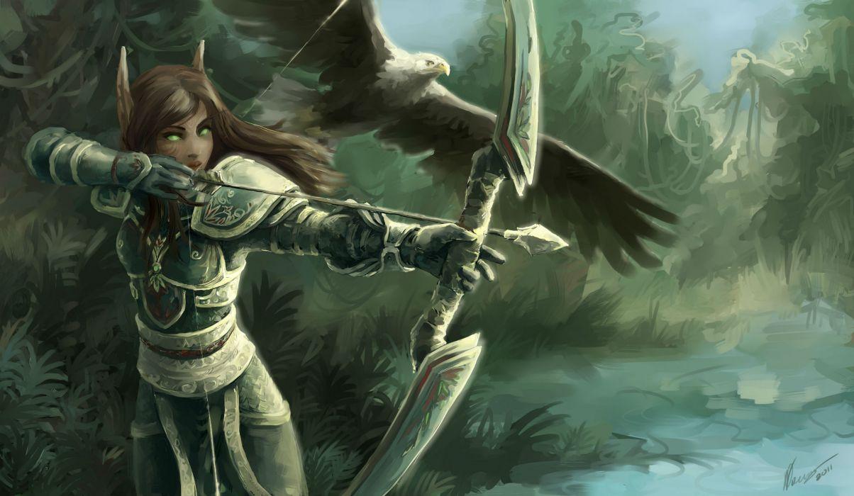 World of WarCraft Warriors Archers Elves Armor wallpaper