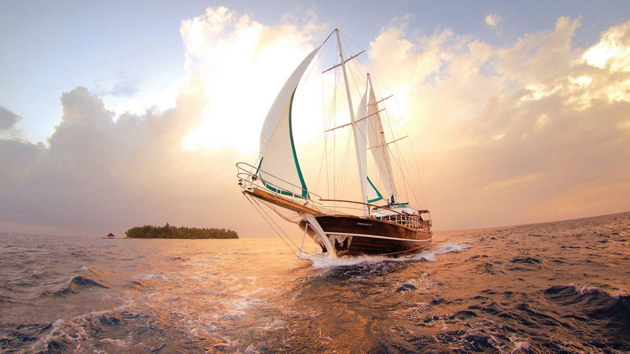 yacht sea island wallpaper