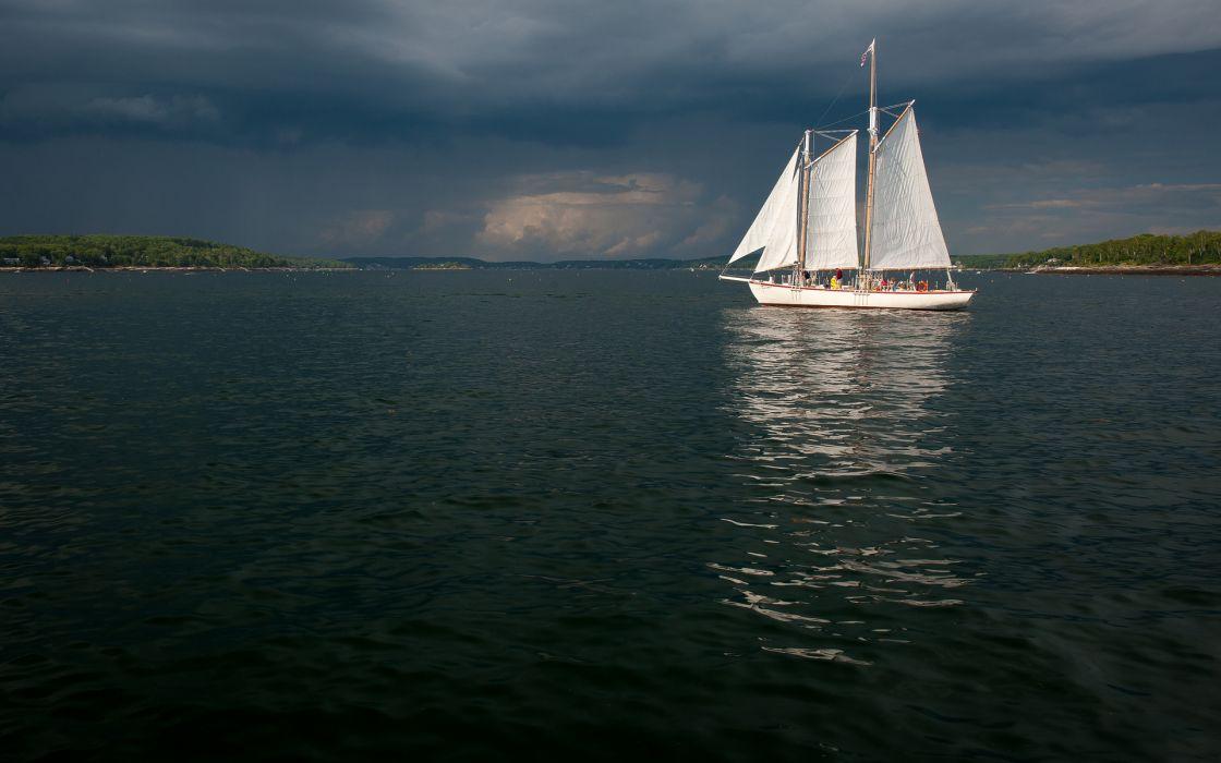 yacht water lake wallpaper
