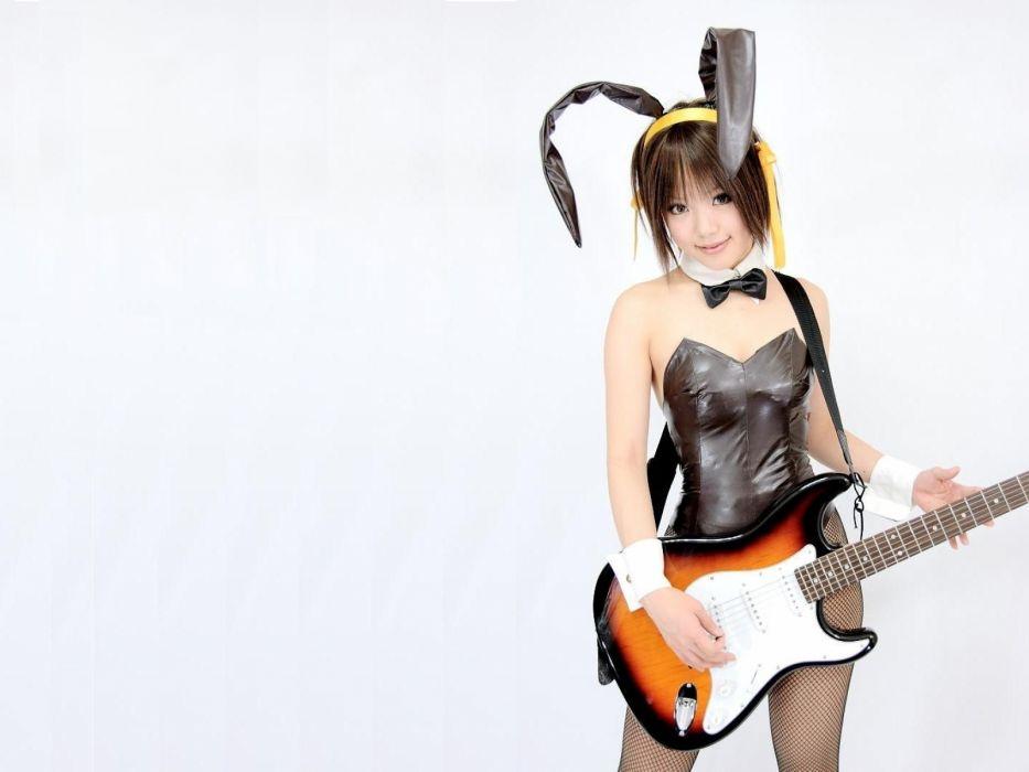 women cosplay asians guitars kipi bunny ears bunny suit white guitar wallpaper