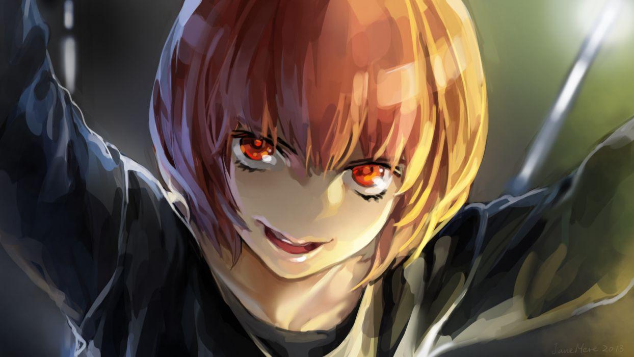 aku no hana brown hair close janemere nakamura sawa red eyes short hair wallpaper