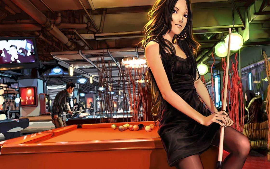 Art  Jian huang  girl  billiards  cue  lights  holiday pool original wallpaper