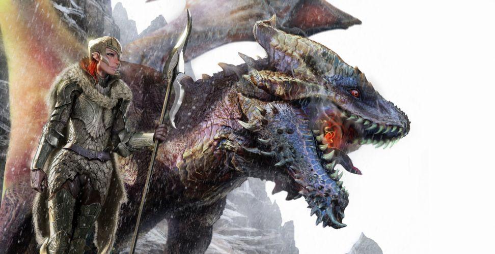 Art Ravine girl dragon snow spear weapon dragons warrior warriors wallpaper