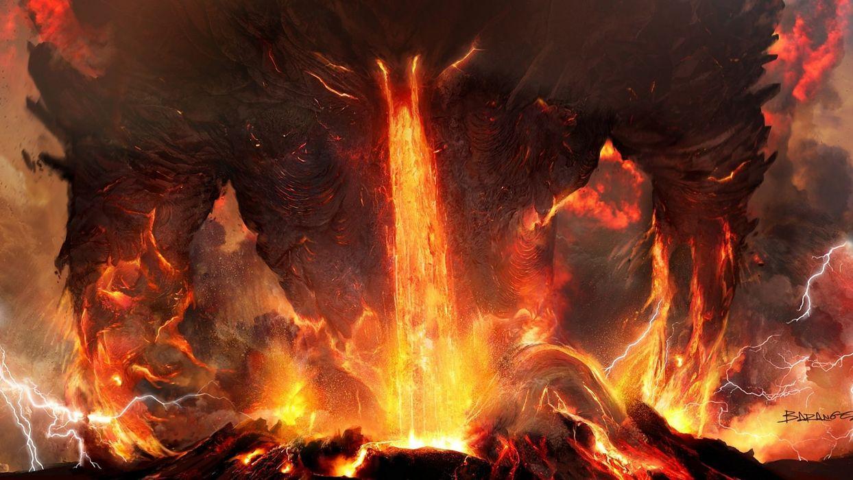 Art  titanium  anger  fire  lightning  lava  volcano  ash demon monster monsters wallpaper
