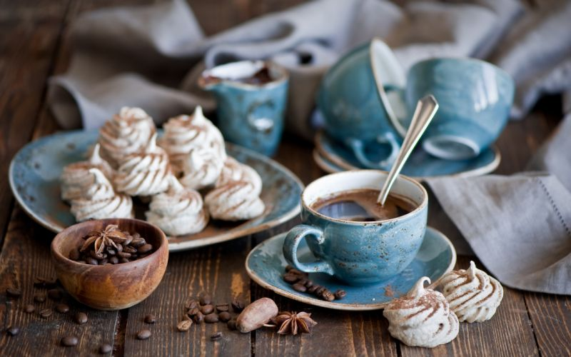 blue corn cup dinner service sweets coffee anise wallpaper