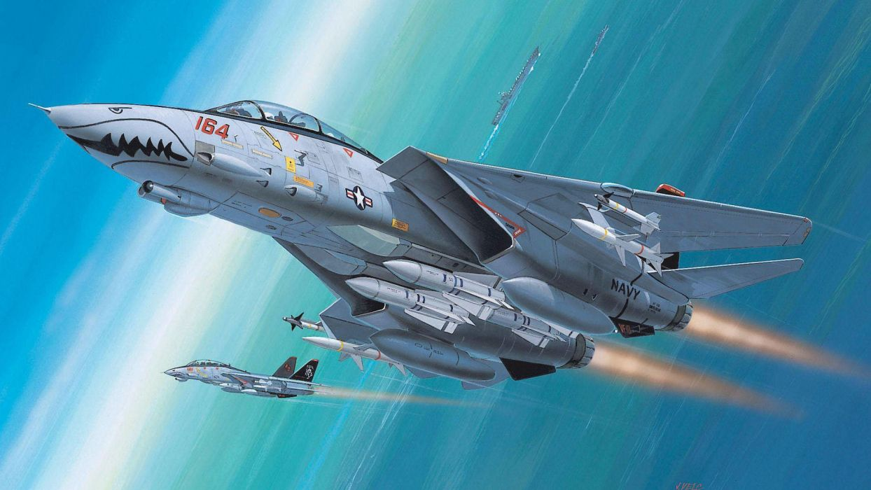 Grumman  F-14  Tomcat  fighter interceptor  Navy  AVIANISETS  missiles  risunoik military jet jets wallpaper