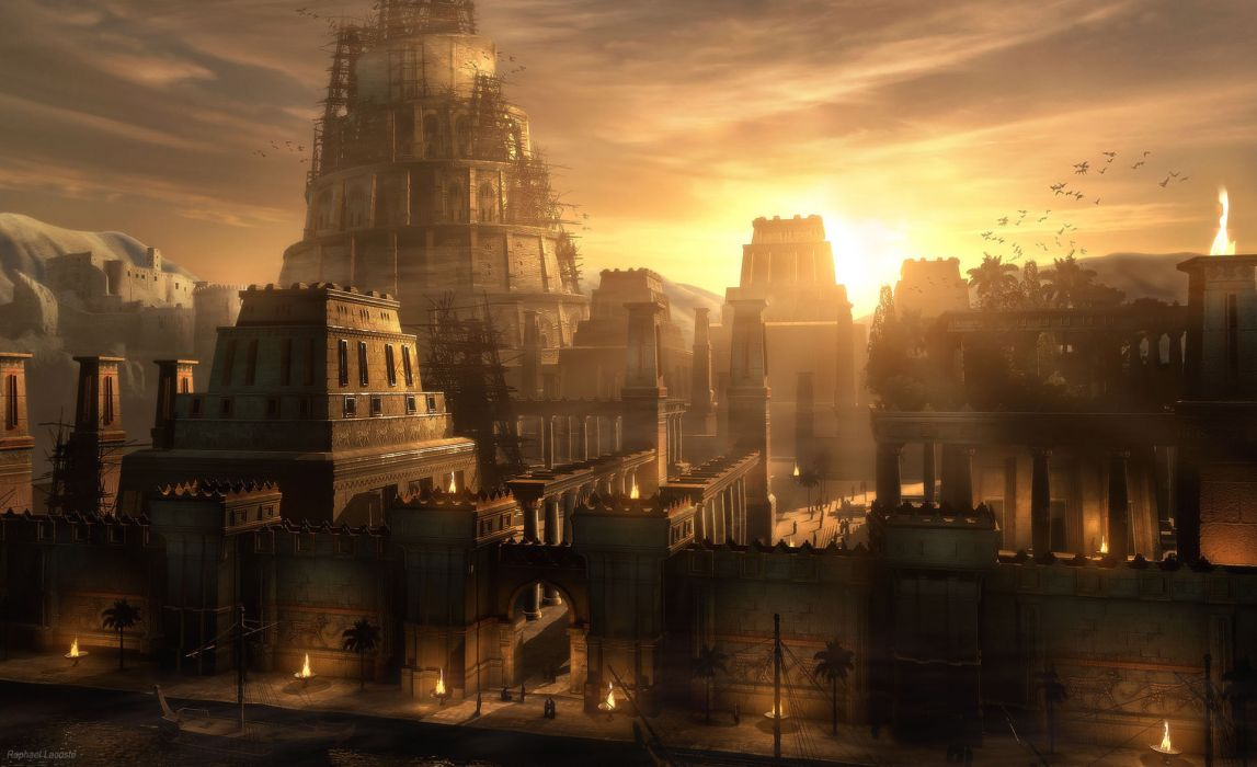 Raphael Lacoste  Sunset on Babylon cities wallpaper