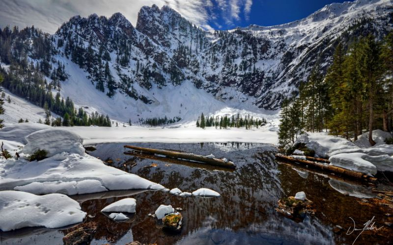 rivers mountains landscapes lakes winter snow reflection wallpaper