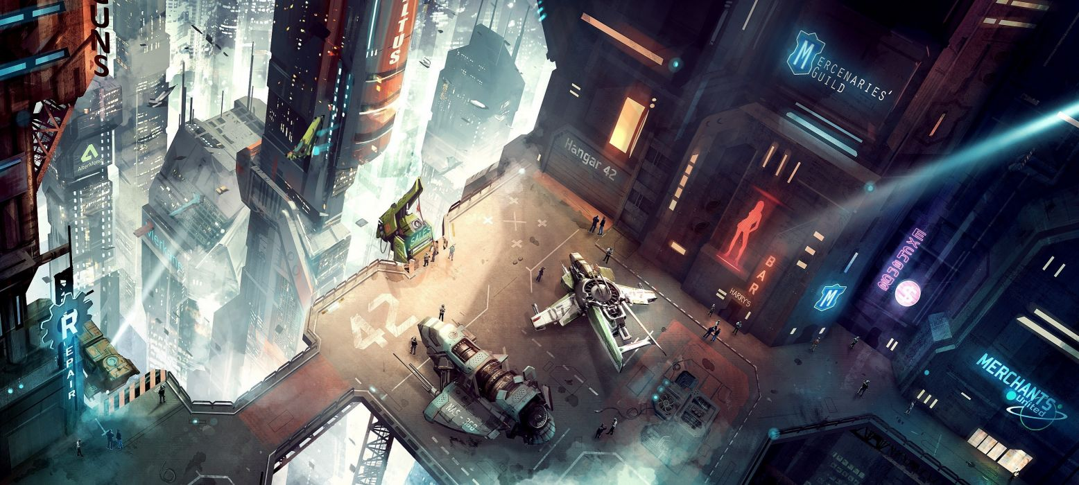 Star Citizen  ships  top view  transport  city  metropolis  height sci-fi sci cities futuristic science wallpaper