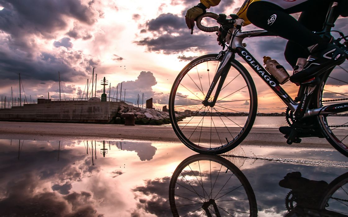 Bicycle Reflection Sunset Clouds Puddle wallpaper