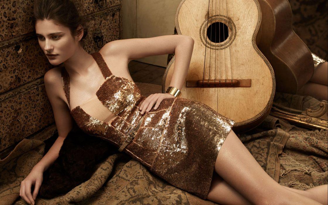 Brunette Guitar Dress wallpaper