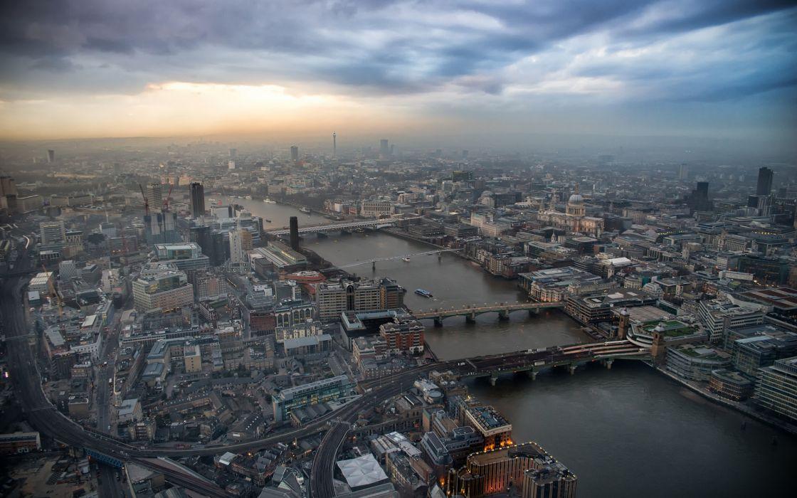 Buildings Aerial River Bridge London wallpaper
