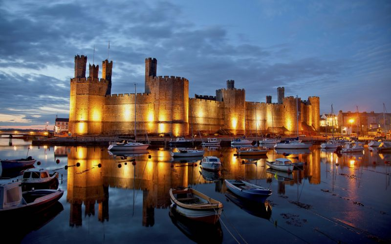Castle Boats Reflection Dock Lights wallpaper