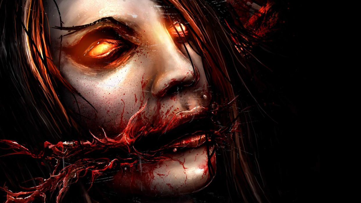 Chelsea Grin Face Creepy Drawing heavy metal hard rock dark blood horror macabre demon eyes wallpaper