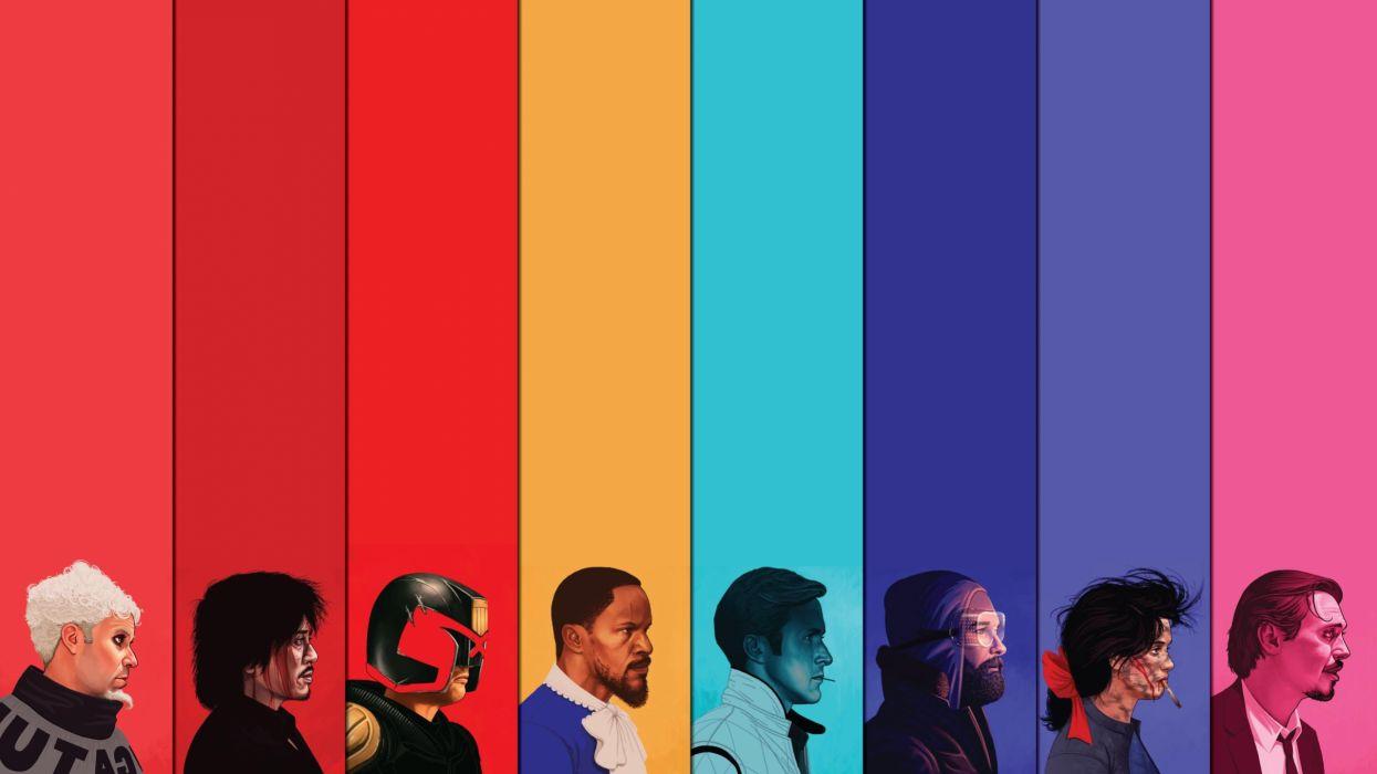 Colorful Judge Dredd Django Unchained Zoolander Drive The Thing Reservoir Dog wallpaper