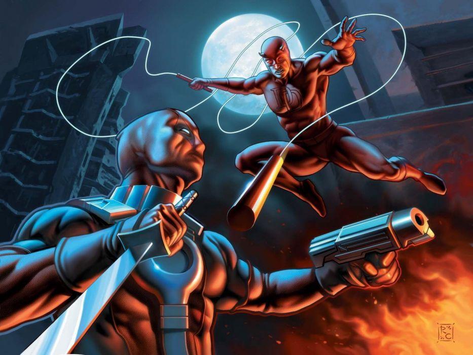 DareDevil Marvel Night Moon Deadpool wallpaper