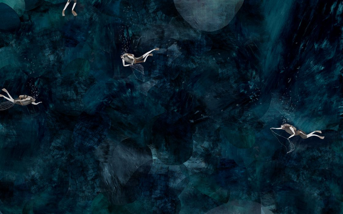 diving diver sports underwater ocean fantasy abstract wallpaper