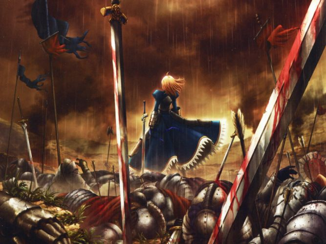 Fate Zero Anime Sword Rain Saber Arturia Pendragon blood wallpaper