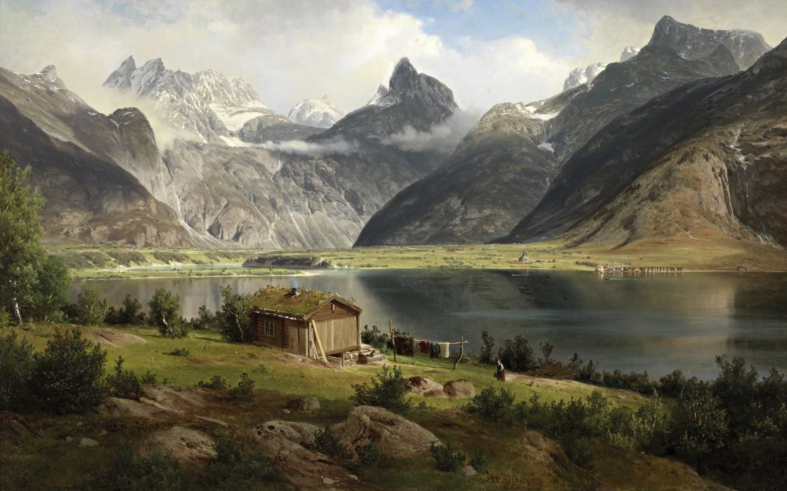 House Lake Mountains Drawing Landscapes Paintings Painting