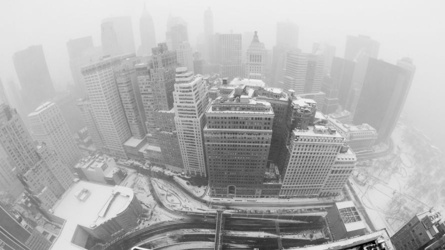 New York Buildings Skyscrapers BW Snow Winter wallpaper