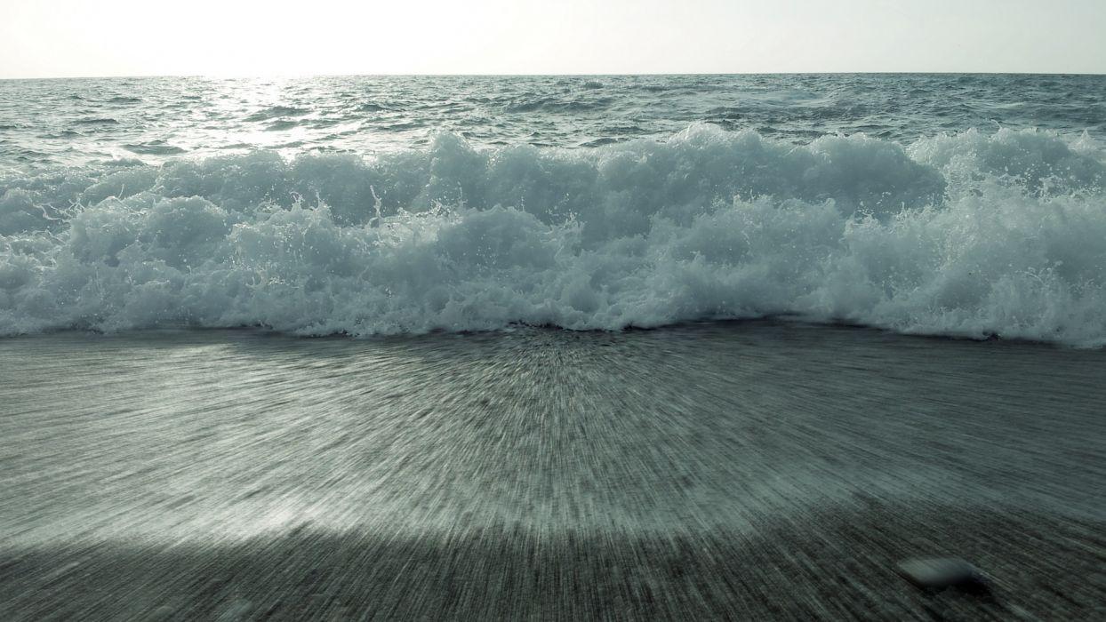 ocean sea beach waves shore drops wallpaper