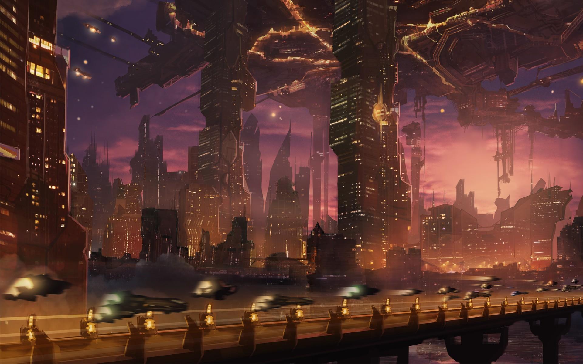 Sci-fi sci science fiction futuristic city cities roads ...