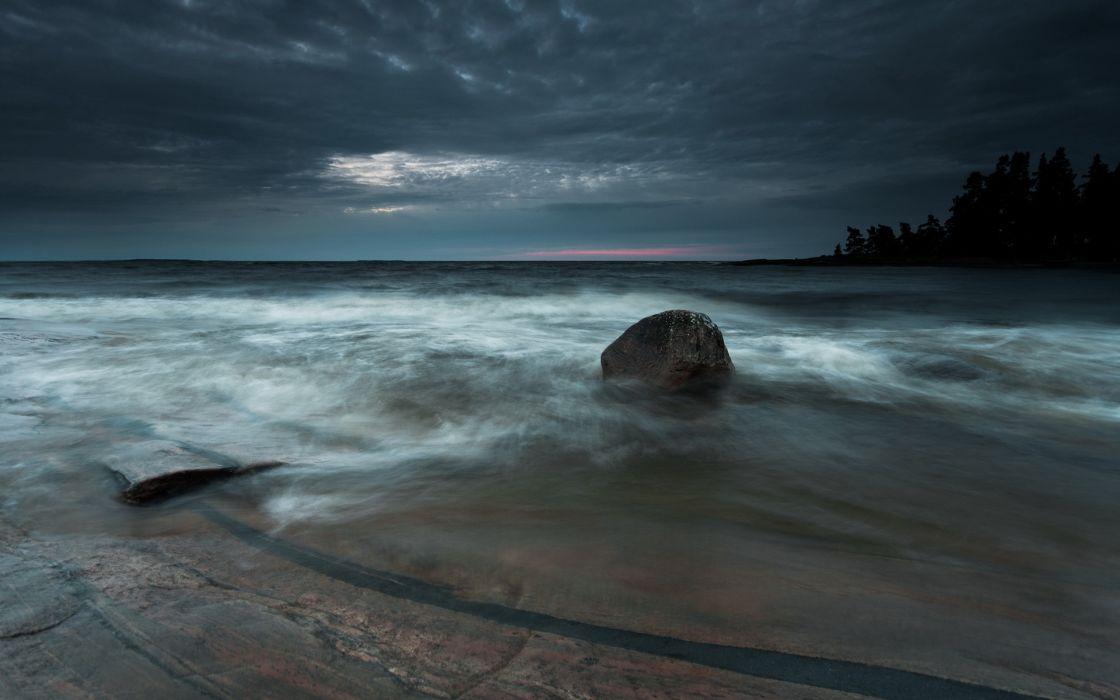 Shore Rock Stone Ocean sea sunset wallpaper