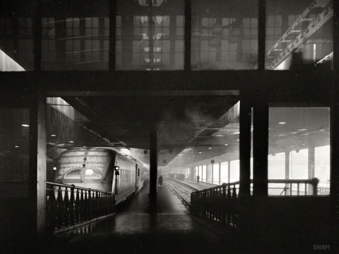 Train Train Station BW Rain retro wallpaper