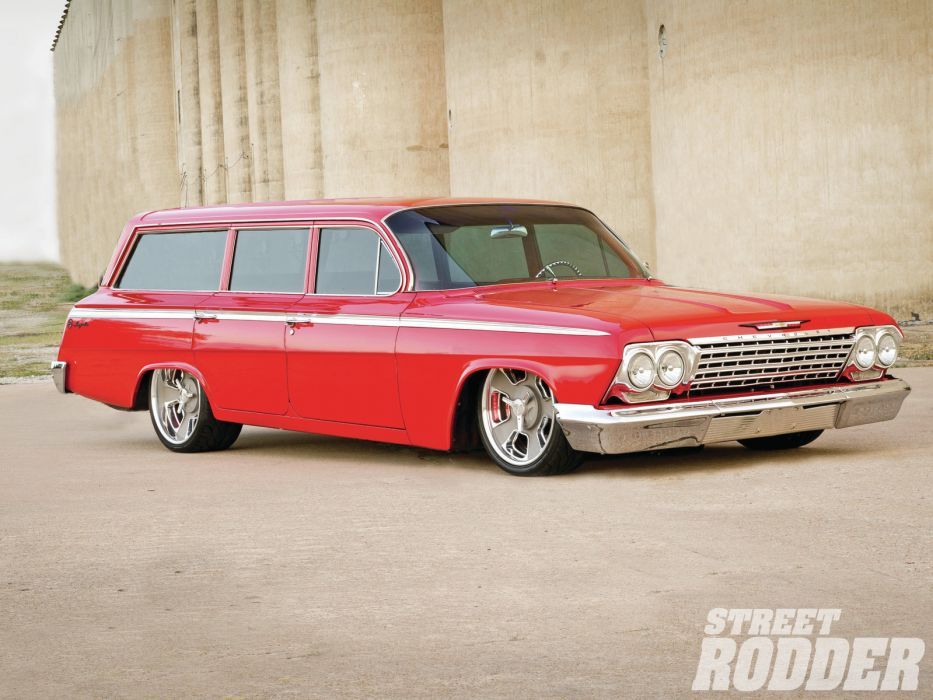 1962 Chevrolet stationwagon wagon hot rod rods wallpaper
