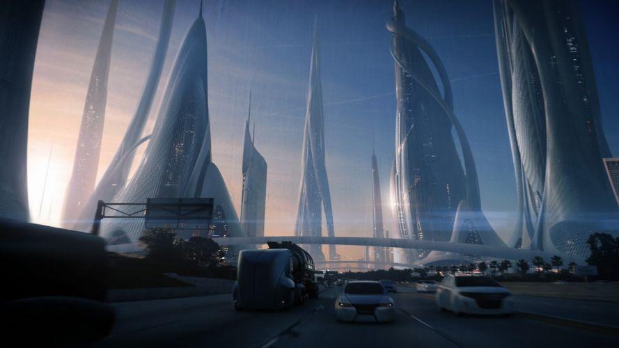 art city future transport roads cars skyscrapers futuristic cities roads wallpaper