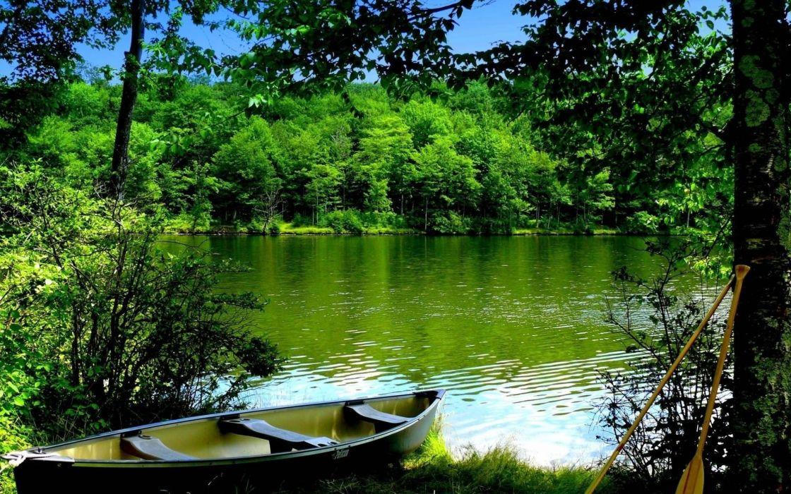 boat water wood oars bots lakes trees reflection wallpaper
