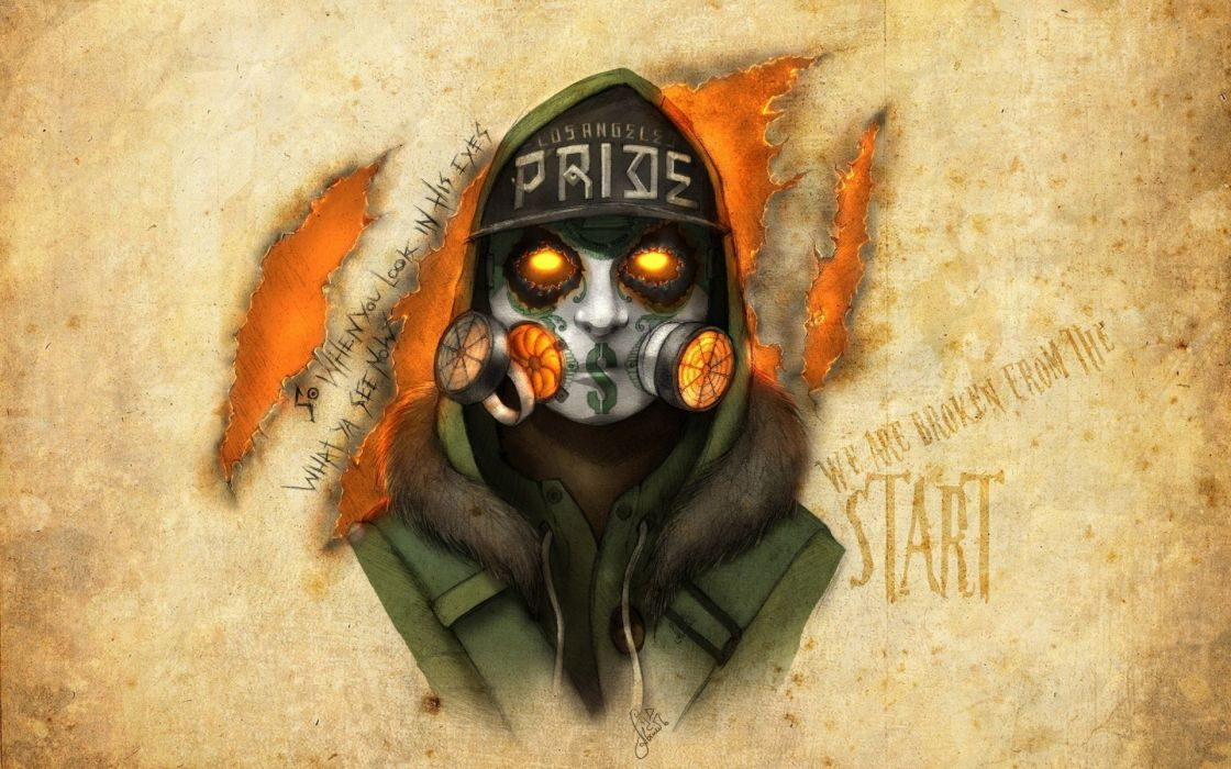 Hollywood Undead Notes from the Underground J-Dog artwork dark gas mask wallpaper