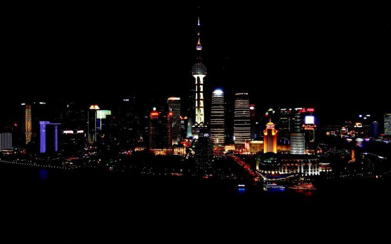 shanghai china night wallpaper