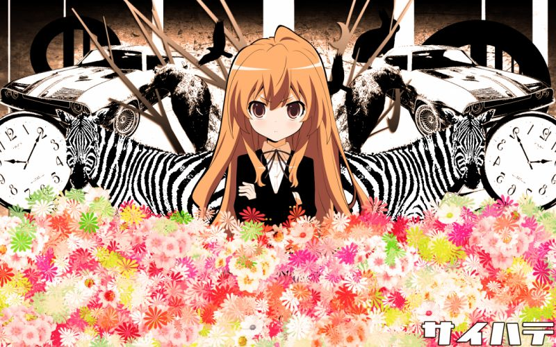 aisaka taiga animal brown eyes brown hair car saihate (vocaloid) toradora wallpaper