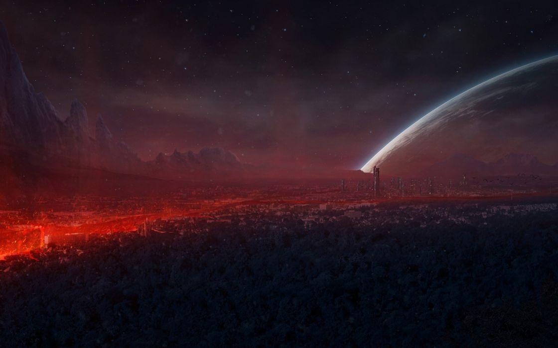 Alien Landscape Planet Stars sky futuristic city cities planets wallpaper