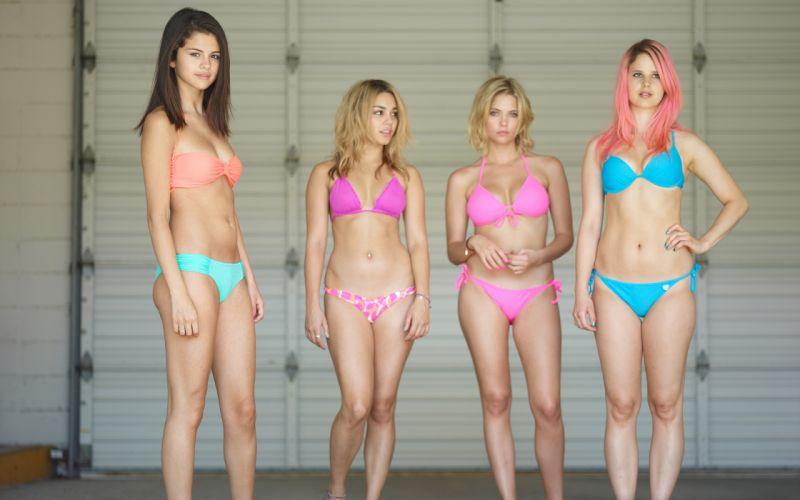 Bikini Blonde Brunette Spring Breakers Vanessa Hudgens Selena Gomez Ashley Benson Heather Morris s wallpaper