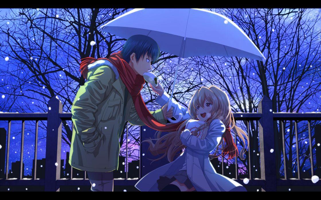 blonde hair blue hair blush brown hair food long hair night scarf short hair skirt sky snow stars thighhighs toradora tsukumo umbrella winter wallpaper