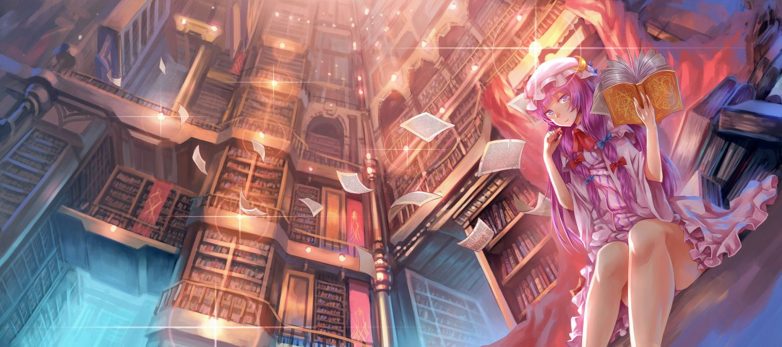 book madcocoon paper patchouli knowledge touhou wallpaper