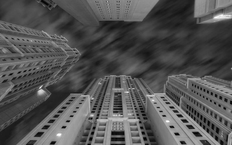 Buildings Skyscrapers BW Timelapse wallpaper