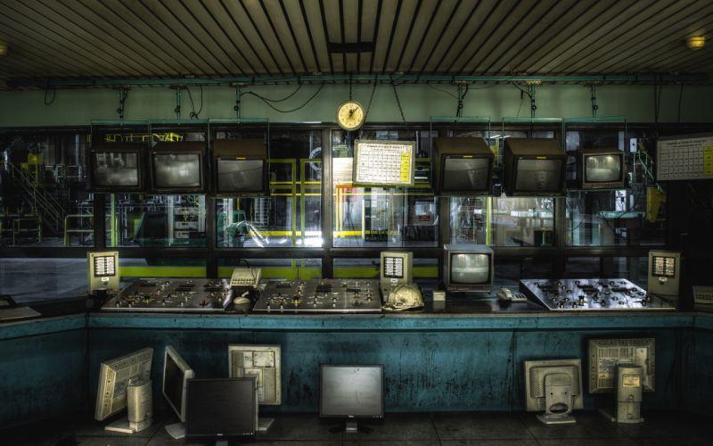 control panel monitors room factory Art wallpaper