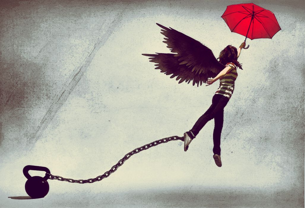 drawing  girl  umbrella  umbrella  chain  weight  wings angel angels gothic mood wallpaper